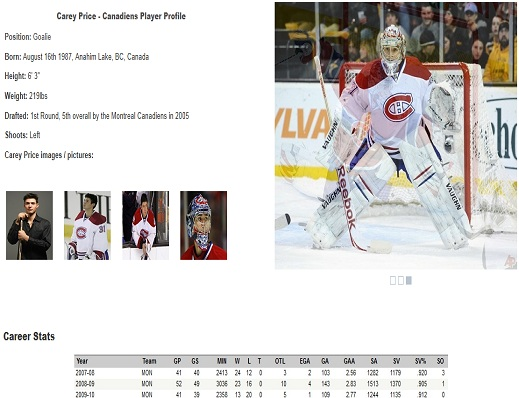 Montreal Canadiens Player Profiles, Statistics,Images & Video